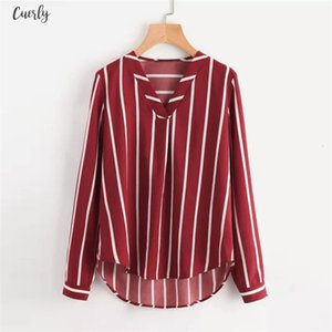 Womens Shirts For Summer 2020 Sexy V Neck Womens Blouse Casual Polka Striped V Neck Print Full Sleeve Top Blouse Women Tops