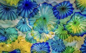 Art Decor Hand Made Soffiato Piastre fiore di vetro per Wall DecorationMediterranean Sea Multicolor in Vetro di Murano Piastre Hanging Wall Art