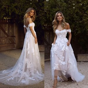 2020 New Country Boho Wedding Dresses Sexy Backless A Line Off Shoulder Appliqued Tulle Long Summer Bridal Gowns Bohemian Wedding Dress