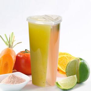 600ML 심장 연인 커플을위한 뚜껑 우유 차 주스 컵을 두 번 공유 컵 투명한 플라스틱 일회용 컵 모양의