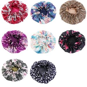 DHL shipping Women Satin Bonnet Sleep Caps Curly 8 Styles Wide Band Elastic Hat Soft Night Bonnet Head Cover Cap for Girls L206FA