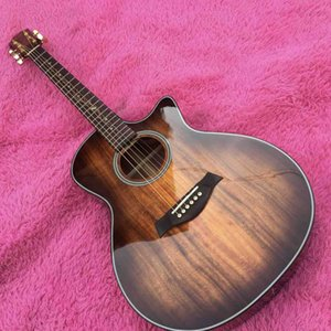 Solid Koa Wood Cutaway Rosewood Fingerboard Acoustic Guitar with Pickup EQ with Headstock Can be Customized Logo