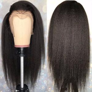 Italiano Yaki Hetero rendas frente perucas de cabelo humano perucas completas do laço Kinky Hetero 360 frontal Lace perucas para mulheres negras com cabelo do bebê