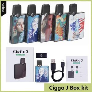Kit Ciggo J Box Pod autentico 350mAh Kit starter Vape Mod con 0,6ml Cartuccia ceramica coil compatibile Jbox Batteria DHL free