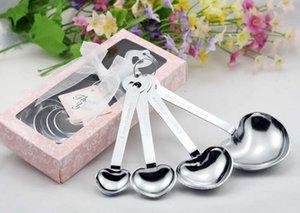 Cucharas de medir caliente del sistema favorece a regalos del partido del corazón cucharas de medir con forma de caja de regalo en forma de corazón Love Kitchen