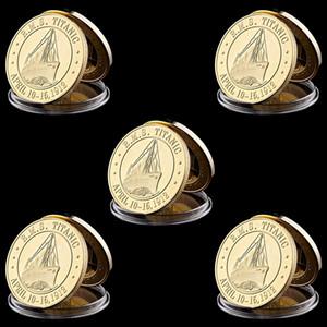 5pcs RMS 100 rotas Anniversary Years Titanic navio à vela banhado a ouro comemorativa Challenge Coin presente da arte de Metal Craft
