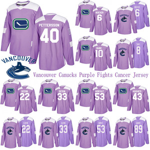 Vancouver Canucks Purple Fights Cancer Jersey 40 Elias Pettersson 43 Quinn Hughes 6 Brock Boeser 53 Bo Horvat Hockey Jersey