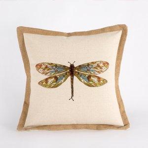 Малый Pure Fresh Контрактные-американский белье Цветные диван Cushions Nordic модель Dragonfly вышивка хлопок Вышитые Pillow12