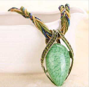FU Vintage Ожерелье Мода Популярные Ретро Богемия Стиль Многослойные Бусы Цепи Кристалл Зерна Капли Воды Ожерелье