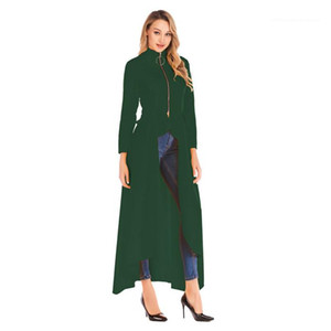 Spring Zipper Long Sleeve Designer Coats New Casual Women Clothing Fashion Irregularity Stand Collar Trench Coats