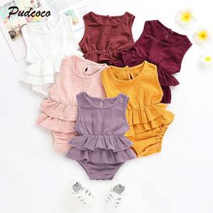 Marca estate Newborn Kid della neonata vestiti casual Ruffle maniche Body vestito solido 1PC vacanze Outfit 0-24M prendisole