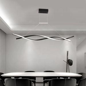 Pingente Chandelier LED Luzes pendentes modernas para Escritório Sala de jantar Cozinha de alumínio onda Luster Avize Modern Chandelier Luminárias