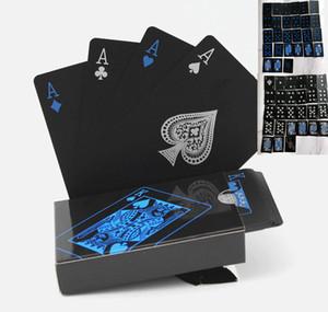 À prova de água Puro Preto PVC Poker Puro Preto Cartões Azul Prata Fonte Magia Cartas de Jogar 63mm * 88 (MM) 140g