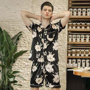Men Clothing 2 Piece Set New High Grade Quality Printing Classic Black Printed Pajamas Short Sleeve Two-piece Suit New Stylish Sleepwear