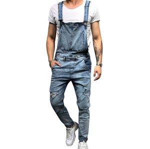 Puimentiua 2019 Fashion Mens Ripped Jeans Jumpsuits Street Distressed Hole Denim Bib Overalls For Man Suspender Pants Size M-XXL BC0607