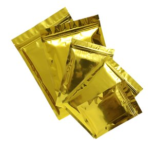 Flat Storage Bags With Zip Lock Glossy Gold Ziplock Bags Free Shipping 100pcs Lot 18x26cm(7x10.25in)