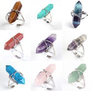 Charms NUOVO esagonale Prism anelli di pietre preziose Cristallo di Rocca di guarigione naturale quartzpoint Chakra Stone apertura anelli per le donne degli uomini all'ingrosso