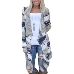 Pull à manches longues automne Knits Patchwork Mode hauts en tricot ouvert avant rayé Cardigan Femme Manteaux