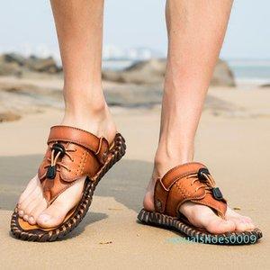 En cuir véritable Nu-pieds Slip Toe Men Fashion Casual Chaussures Hommes Hommes Pantoufles Summer Beach Roman Sandales plus Taille 38-48 CC9