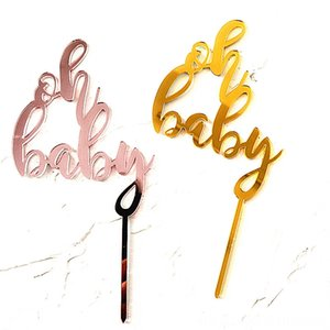 INS New OH Baby Acrylic Cake Topper Pink Gold Mirror Cupcake Topper For Baby Shower Kids Event & Supplies Festive & Party Supplies Girls Bir