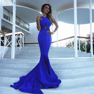 Women Evening Dress Vestidos Sexy Solid Blue Slim Long Dress Women Dresses Fashion Party Dress Vestido De Fiesta