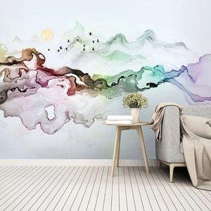 Papel de parede personalizado Foto estilo chinês Abstract Ink Painting Background Arte decorativa Murais de estar Study Room Decor Home 3D