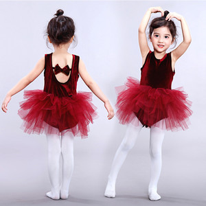 Children girls dancewear Dance skirts Students performance clothing kids Ballet skirt lace Tutu Tulle dress baby Summer Backless dress C6636