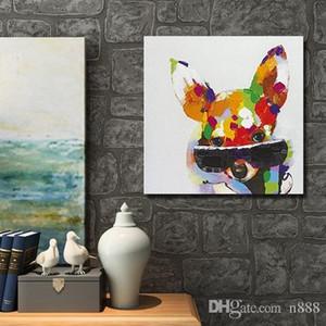 Dipinto a mano Cool animale colore cane con vetro Art Painting moderna pittura a olio astratta su tela decorazione per camera casa DecoA128