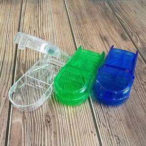 Atacado pill plástico cortador Splitter Metade Compartimento de Arrumação Caixa Medicine Tablet Titular Seguro frete grátis WB1233