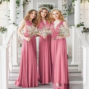 2020 컨버터블 신부 들러리 드레스 바닥 길이 라인 맞춤형 주름 루슈 가운 웨딩 하녀 명예 가운 정식 저녁 착용