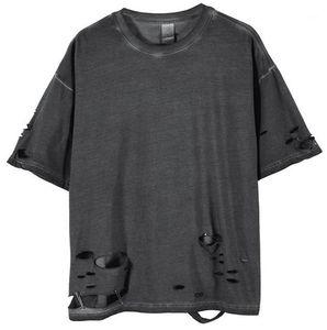 Neck High Street Mens Tees moda allentato Camicie Uomo Designer Mens di estate magliette Fori Grey manica corta Crew