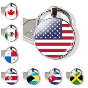 Dropshipping Ülke Bayrağı Anahtarlık Birleşik Devletleri Kanada Kosta Rika Meksika Bayrağı Resmi Cam Cabochon Anahtarlık Bayrak Takı Hediye