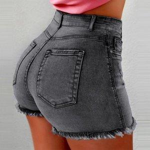 Frauen Hohe Taille Denim Shorts Zerrissenes Loch Figurbetonter Kurzer Feminino Sommer Shorts Jeans Mit Quaste Plus size sommer streetwear Blau