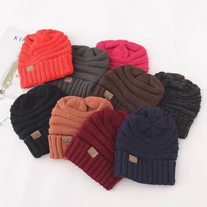 Knitted Hat Beanies Hat CC Women Warm Winter Simple Style Chunky Soft Stretch Men Knitted Beanie Skully Hats 17 Colors A123