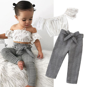 Été Bébés filles Costume Set enfant en bas âge Bébés filles manches Off Tops épaule et pantalons à carreaux Bows deux pièces Tenues Sets