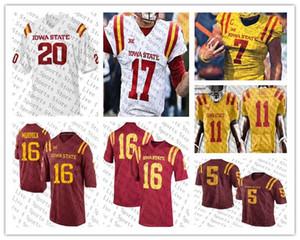 Özel ISU Iowa State Cyclones 5 Allen Lazard 7 Joel Lanning 18 Hakeem Butler 15 Brock Purdy Kırmızı Sarı Beyaz Kolej Futbol Formalar Iyi