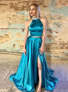 İki Adet Yan Bölünmüş Gelinlik 2020 Yüksek Boyun Kolsuz Özel Durum Elbise Örgün Akşam Parti törenlerinde vestido de noche Özel