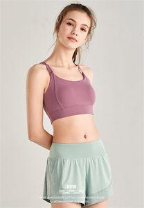 LU cor sólida Jogging Breeches Falso Two Piece Yoga Align Hotty Curto Womens Elasticidade Exercício Hot Shorts Calças Roupa 55lya E19