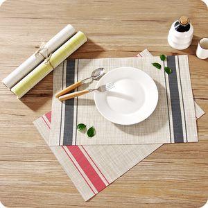 Mesh Esstisch Mat Küche Große Woven Rechteckige Hitzebeständige Tischset Rutschfeste Abwischbare Waschbare PVC Geschirr Platz Matten Pad