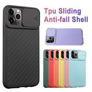 Silicone Case com iPhone Silder Para Camera Protector 11 abrange Pro Max macio TPU anti-derrapante textura inteligente Cellphone com OPP Individual Bag