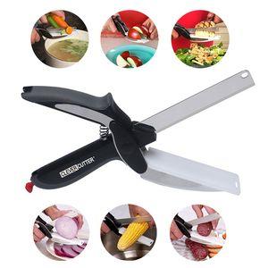 Acero inoxidable Clever cortador 2-en-1 de Utilidad Tijeras de cocina para la Alimentación Pan de carne verduras corte del cuchillo multifunción Alimentación cortador