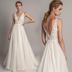 Simple Chiffon Boho Beach Wedding Dresses Lace Applique V-neck Backless A-Line Bridal Gowns Plus Size Garden Wedding Dress