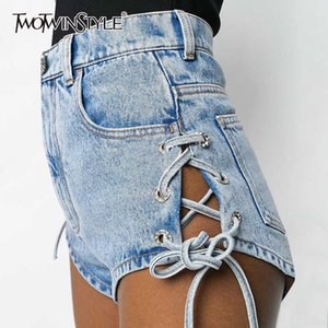 TWOTWINSTYLE Casual Denim Women Shorts High Waist Lace Up Bow Hollow Out Sexy Short Pants For Female Clothing Fashion 2020 Tide
