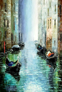 Pure Handmade Abstract Oil Painting Hand Painted Wall Art On Canvas 24X36inch Decorative Wall Pictures Boat Cityscape Painting