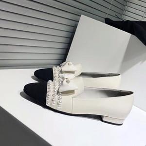Marke Frauen Kuh Leder Low Heel Kleid Hochzeit Schuh Fashion Pearl Bowtie Single Schuh gestreiften Flanell Office Lady Single Schuh, 35-41