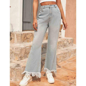 Jeans Women Solid Vintage High Waist Wide Leg Denim Trousers Simple Students All-match Loose Fashion Harajuku Womens Chic#35