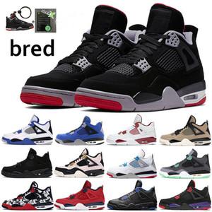 2019 Nueva caliente Negro Cemento 4S zapatillas de baloncesto para hombre Dunk desde arriba de fuego rojo resplandor verde Eminem Zapatos azules militares US8-13