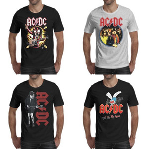 Mode Hommes impression ACDC Fly On The Wall Mosquito t noir shirt personnalisé Shirts rock band musique Cartoon Angus Augus diable ac corne