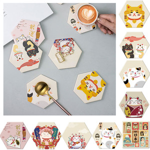 Lucky Cat Pattern Diatomite Coasters Pads for Drink Hexagon Mold Water Absorption and Quick Drying Cup Mat Set In Kitchen Table Decoration
