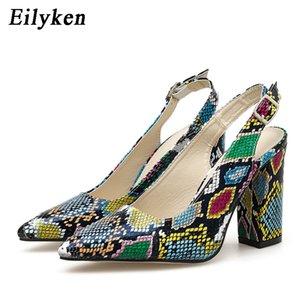 Eilyken mode Retour Bandes Design grain Serpent Boucle Bracelet Pumps été Sandales Femme Pointu Toe Shoes Talons Loisirs